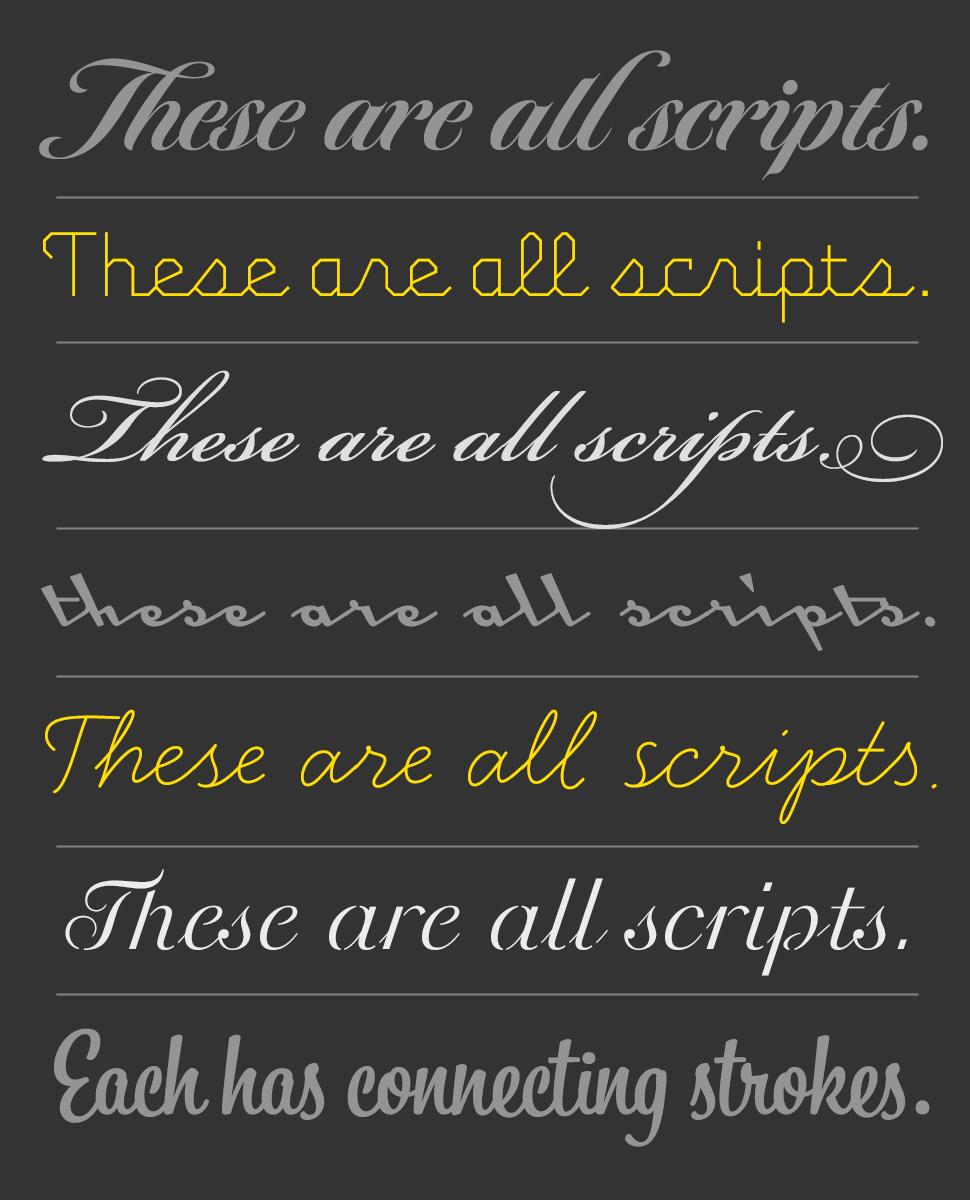Professional script typefaces from FontShop