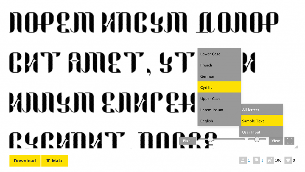 FontStruct Cyrillic Preview in Widget